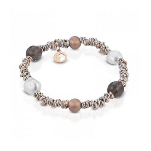Bracciale Le Lune Donna LGBR193 della collezione Glamour . bracciale perle di acqua dolce realizzato in argento rosa 925 con elementi in quarzo fumè. Lunghezza bracciale 18 cm.