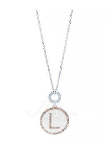 Collana Dvccio donna ZXIMCL1048/2C/W-L. Collana lunga 90cm in bronzo con medaglia con lettera iniziale L su smalto bianco. Fa parte della collezione My Letters.
