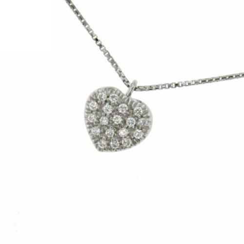 Collana Donna Mirco Visconti MV93/20 . Collana realizzata in oro 18 KT. Modello catenina e pendente a forma di cuore tempestato da diamanti. Questo gioiello presenta diamanti di ct 0,10 col G VS.