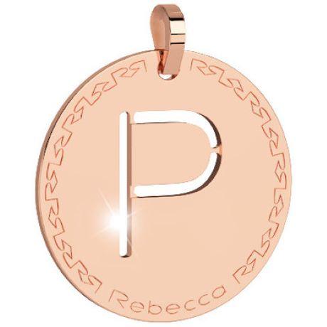 Pendente donna rebecca, bwrprp16, collezione myworld alphabet, in bronzo placcaro oro rosa per comporre la tua collana
