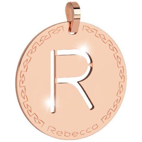 Pendente donna rebecca, bwrprR18, collezione myworld alphabet, in bronzo placcaro oro rosa per comporre la tua collana