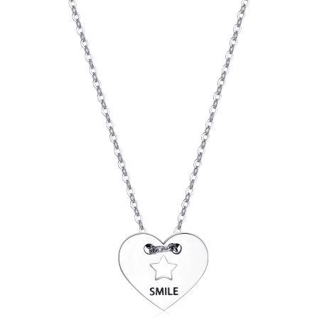 """Collana S'agapò donna BE MY ALWAYS SBM39. Collana in acciaio 316L con ciondolo a forma di cuore con stella e incisione """"Smile""""."""