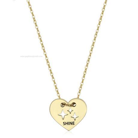 """Collana BE MY ALWAYS SBM41. Collana donna s'agapò, sbm41, collezione be my always, in acciaio dorato, pendente cuore e scritta """"shine"""" misura 43 cm"""
