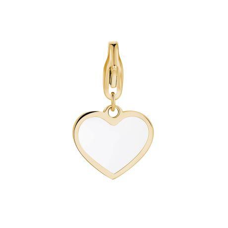 Charm S'agapò donna della collezione Happy sha302 charm a forma di cuore in acciaio, colore oro e smalto bianco