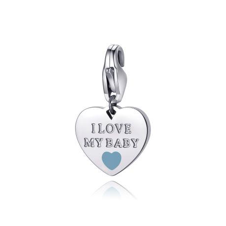 Charm S'agapò donna della collezione Happy sha285 charm a forma di cuore in acciaio, colore silver con scritta i love my baby celeste