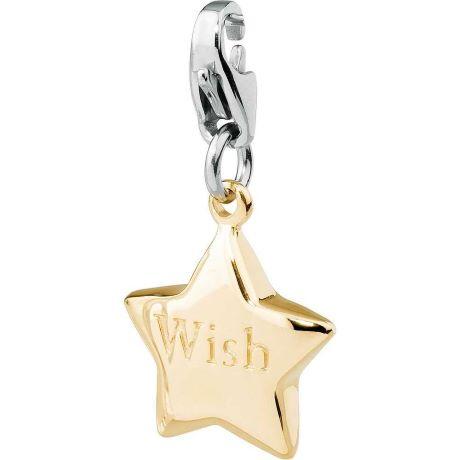 Charm S'agapò donna della collezione Happy sha46 charm in acciaio con stella colore oro e scritta WISH
