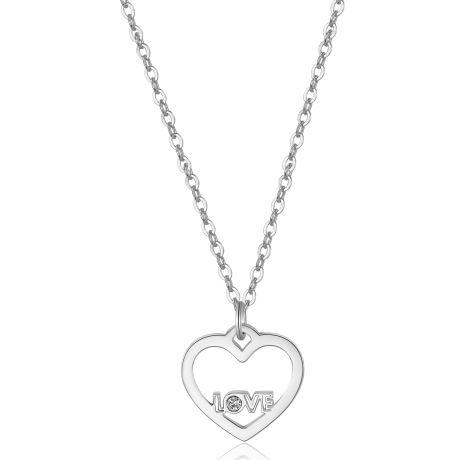 Collana S'agapò donna collezione PRETTY SPE02. Collana in acciaio 316L con pendente a forma di cuore con scritta LOVE e cristallo.