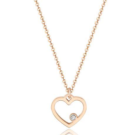 Collana S'agapò donna collezione PRETTY SPE03. Collana in acciaio 316L e pvd oro rosa con pendente a forma di cuore e cristallo.