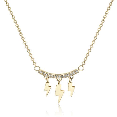Collana girocollo in acciaio 316L e pvd oro con pendenti a forma di saetta e barretta con cristalli.