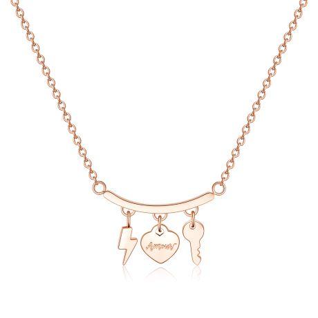Collana S'agapò TRICONY STY03. Collana girocollo in acciaio 316L e pvd oro rosa con pendenti a forma di saetta, cuore e chiave.