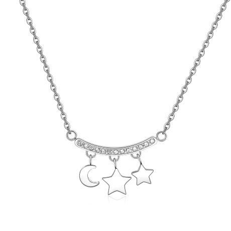 Collana TRICONY STY06. Collana girocollo in acciaio 316L con pendenti a forma di luna e stelle e barretta con cristalli.