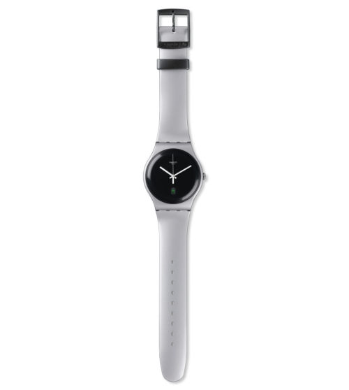 Orologio Swatch SUOB401. Orologio con cinturino in resina collegato all'orologio per mezzo di steel pins. Il cinturino grigio ha una larghezza di 19.7 mm e si chiude per mezzo di fibbie.