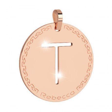 Pendente donna rebecca, bwrprt20, collezione myworld alphabet, in bronzo placcaro oro rosa per comporre la tua collana