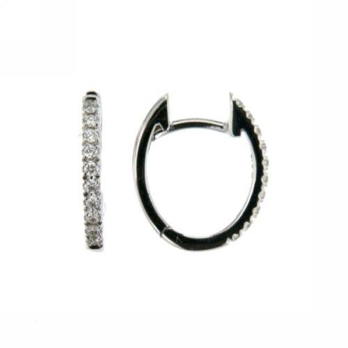 Orecchini Mirco Visconti Z540 . Orecchini a cerchietto ovalizzati realizzati in oro 18KT . Questo modello presenta diamanti ct 0,13 G VS.