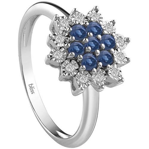 Anello Bliss Elisir Donna 20081568 Della collezione Elisr, realizzato in oro 750 arricchito da zaffiri di colore blu e diamantoi di ct 0,06. Quando ordinerai questo gioiello, indicaci la misura che più preferisci.