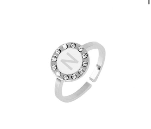 Anello donna Dvccio ZXAMICRO\W-N.Anello regolabile con lettera smalto bianco. Collezione Petit Trésors.
