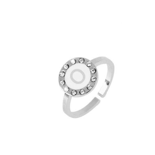 Anello donna Dvccio ZXAMICROW-O. Anello regolabile con lettera smalto bianco. Collezione Petit Trésors.