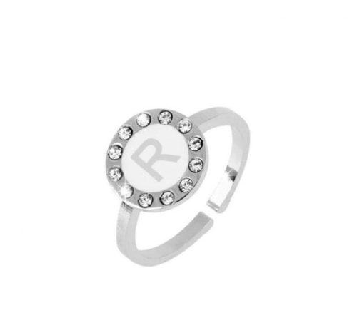 Anello donna Dvccio ZXAMICRO\W-R. Anello regolabile con lettera smalto bianco. Collezione Petit Trésors.