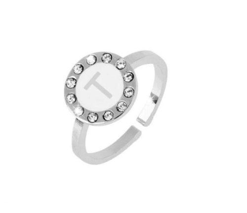 Anello donna Dvccio ZXAMICRO\W-T. Anello regolabile con lettera smalto bianco. Collezione Petit Trésors.
