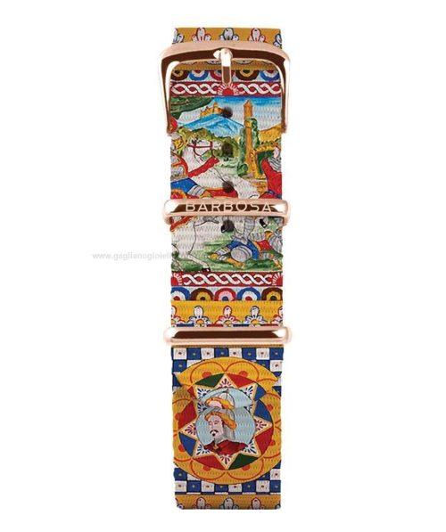 Cinturino Per Orologio Donna Barbosa 18RN163 della collezione Mediterranean realizzato in acciaio Rosè pvd. Il cinturino è realizzato in nylon e il suo tema è carretto siciliano .La larghezza del cinturino è di 18 mm. resistente all' acqua.