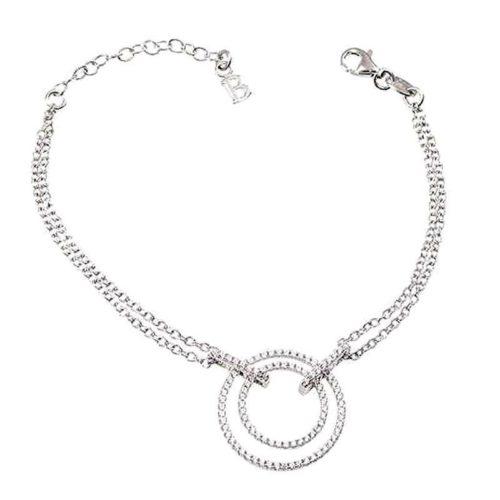 Bracciale Boccadamo donna BR450. Bracciale doppio filo in argento con centrale concentrico in pavè di zirconi (lunghezza cm 17, estendibile fino a cm 21).