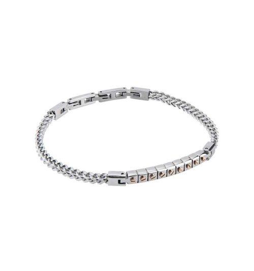 Bracciale Boccadamo uomo ABR454.Bracciale realizzato in acciaio 316L, targa centrale con inserti in PVD oro rosa. Le maglie della chiusura sono facilmente rimovibili per permetterti di regolare il braccialetto al tuo polso.