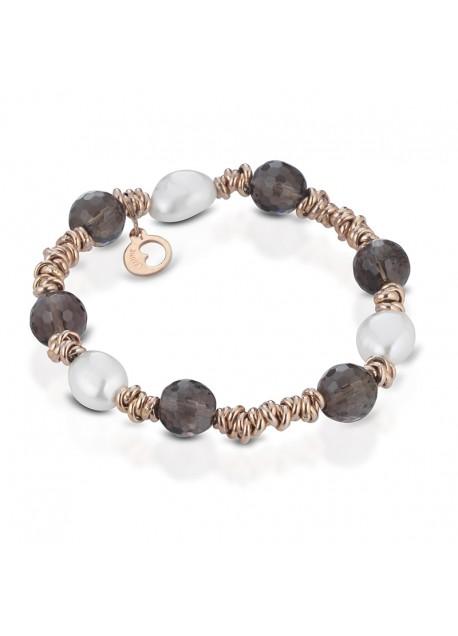 Bracciale Le Lune LGBR194 donna della collezione Glamour,bracciale perle di acqua dolce realizzato in argento rosa 925 con elementi in quarzo. Lunghezza bracciale 18 cm.