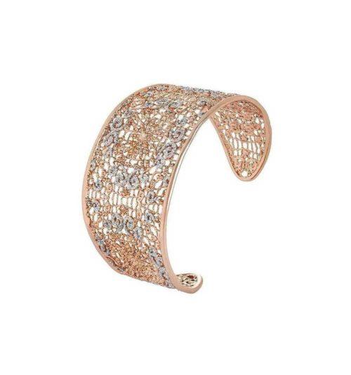 Bracciale Boccadamo donna XBR261RS.Bracciale realizzato in bronzo placcato oro rosa con decoro realizzato in elettrofusione e glitter silver. Diametro 6 cm.