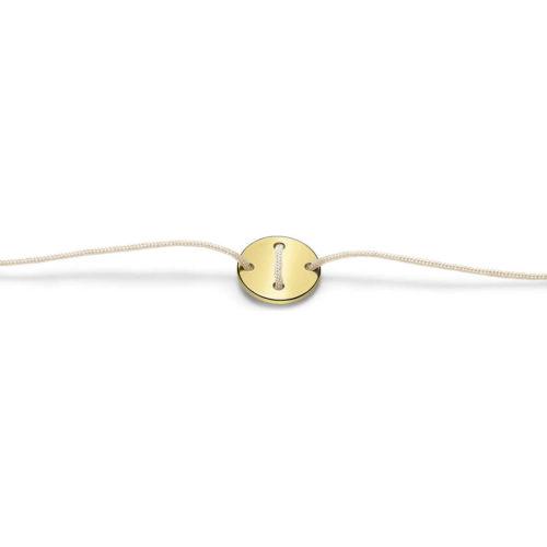 Bracciale Unisex Feelo FLJ0009 , by Breil, con lettera I , realizzato in cordino colorato avorio e targhetta in argento 925 color oro. La lettera I di IMMAGINAZIONE.