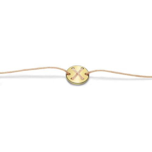 Bracciale Unisex Feelo FLJ0024 , by Breil, con lettera X , realizzato in cordino colorato salmone e targhetta in argento 925 color oro. La lettera X di XTREME.