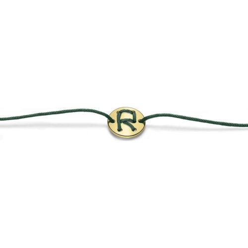 Bracciale Unisex Feelo FLJ0018 , by Breil, con lettera R , realizzato in cordino colorato verde scuro e targhetta in argento 925 color oro. La lettera R di RIBELLIONE.