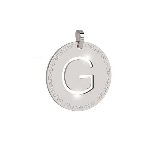Charm Rebecca collezione myworld alphabet, in bronzo placcato bianco lettera G