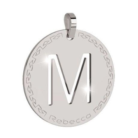 Charm Rebecca collezione myworld alphabet, in bronzo placcato bianco lettera M