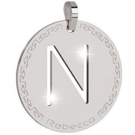 Charm Rebecca collezione myworld alphabet, in bronzo placcato bianco lettera N