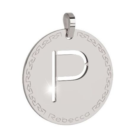 Charm Rebecca collezione myworld alphabet, in bronzo placcato bianco lettera P