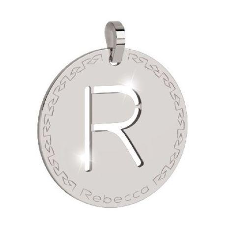 Charm Rebecca collezione myworld alphabet, in bronzo placcato bianco lettera R