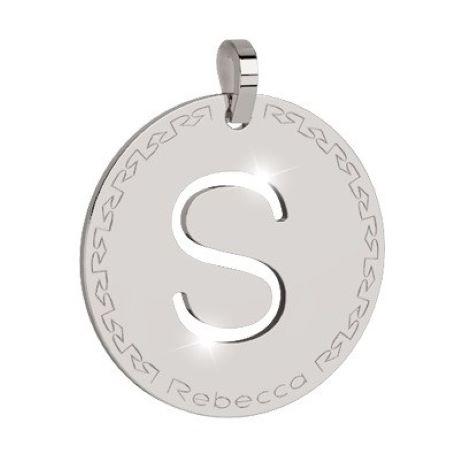 Charm Rebecca collezione myworld alphabet, in bronzo placcato bianco lettera S