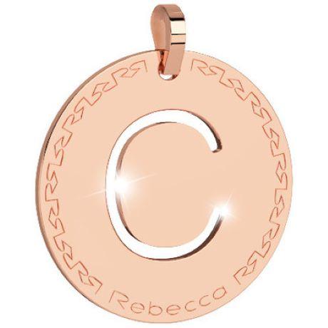Pendente donna rebecca, bwrprc03 collezione myworld alphabet, in bronzo placcaro oro rosa per comporre la tua collana
