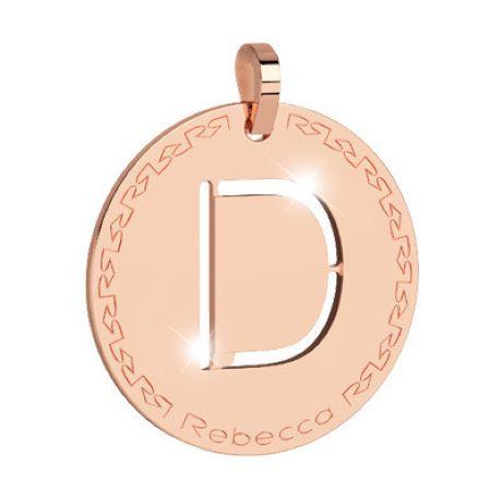 Charm Rebecca collezione myworld alphabet, in bronzo placcato oro rosa lettera D