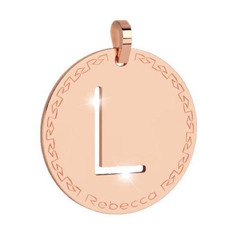 Charm Rebecca collezione myworld alphabet, in bronzo placcato oro rosa lettera L