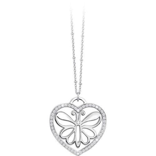 Collana Donna 2Jewels Carpe Diem 251454 della collezione Carpe Diem . Modello realizzato in acciaio 316L con pendente a forma di cuore con farfalla traforata, impreziosita da pietre .
