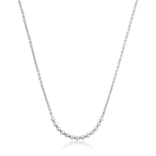 Collana donna Ania Haie N002-04H. Collana da donna della collezione Modern Minimalism in argento 925 con placcatura in rodio e chiusura a moschettone. Le misure del gioiello sono: lunghezza inclusa estensione: 38cm - estensione: 5cm - lunghezza totale: 43cm - sfere x 13: 0.15cm.