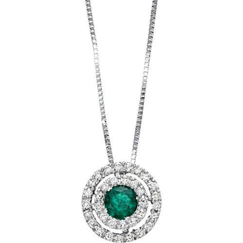 Collana Bliss Corolla donna 20069864 della collezione Corolla, realizzata in oro bianco e diamanti con pietra smeraldo. La collana misura 42 cm.