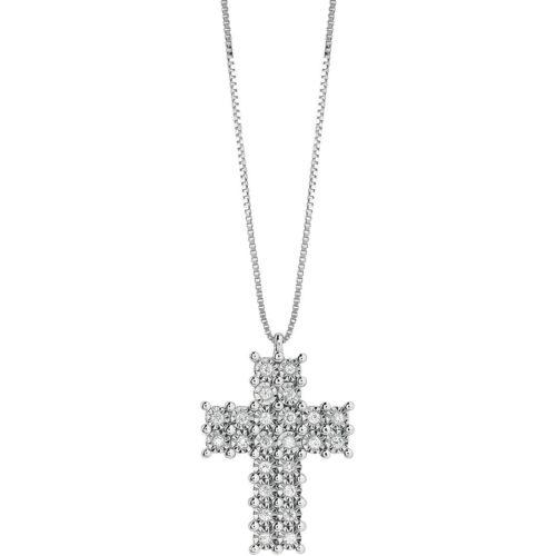 Collana Croce Bliss Lumina Donna 20085117 della collezione Lunina. Collana realizzata in oro bianco con pendente a croce con pavè di diamanti ct 0,12 col Gh. Misura 42 cm.