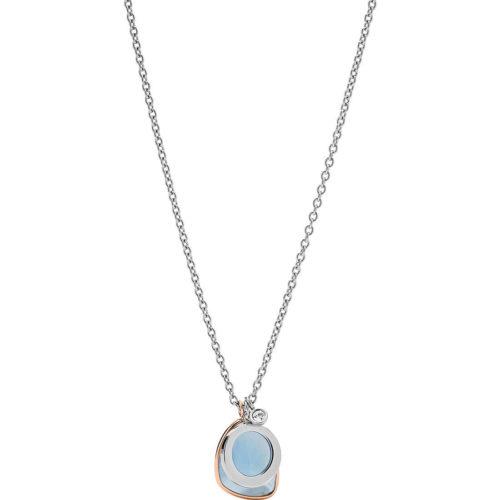 Collana Fossil Classics donna JF03076998della collezione Vintage Iconic. Quelo modello creato in acciaio inossidabile di colore silver con rifinitura lucida. Pietra azzurra impreziosita da cristalli di colore trasparente.