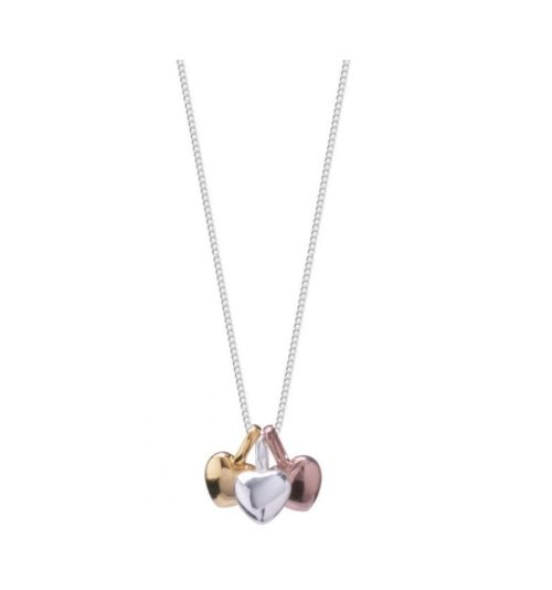 Collana donna Joma 1160. Collana della collezione Florence in ottone placcato argento con tre ciondoli a forma di cuore in ottone argentato, rosato e dorato. Lunghezza 46 cm + 5 cm di estensione.