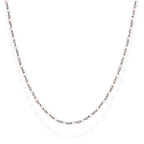 Collana Amen donna CLNR45. Collana della collezione romance in argento 925 e cristalli cangianti rosa del diametro di 3mm. Lunghezza 45cm e chiusura a moschettone.