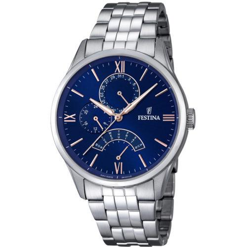 Orologio Festina Uomo Multifunzione Retro F16822/3della collezione Retro. Modello realizzato in acciaio inossidabile. La cassa è di diametro 43 mm. Il quadrante è di colore blu con indici numeri arabi applicati. Questo orologio ha la resistenza di 5 Atm. Movimento M5R10.
