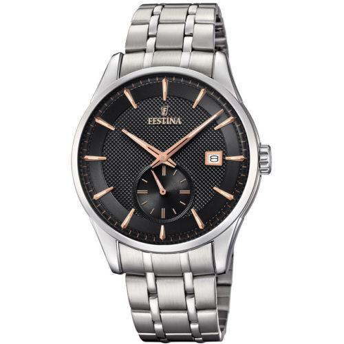 Orologio Festina Uomo Solo Tempo F20276/4 , della collezione Retro. Questo orologio presenta una cassa in acciaio e il suo diametro è di 41mm . Il quadrante è di colore nero con indici a bastoni rosè. La resistenza all'acqua è di 5 Atm.