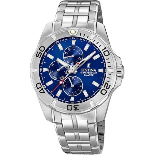 Orologio Festina Uomo Multifunzione F20445/2 della collezione Multifuncion. Questo orologio è dotato di un movimento M6927. Orologio realizzato in Acciaio inossidabile. La cassa ha un diametro di 43mm . Il quadrante è di colore blu e la sua resistenza è di 10 Atm.